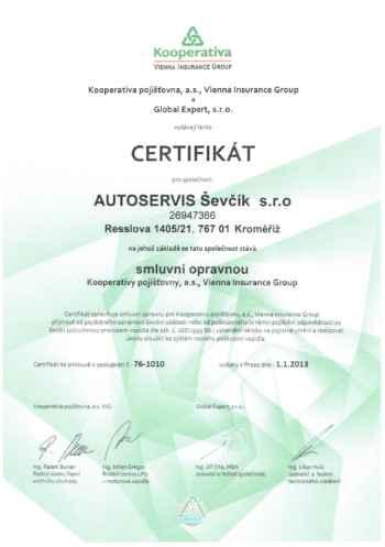 Certifikát Kooperativa