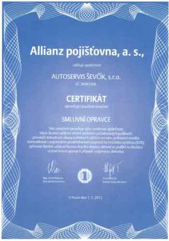 Certifikát Allianz