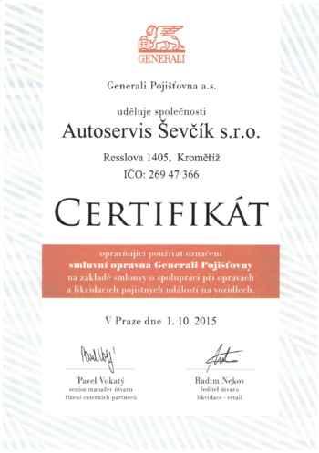 Certifikát Generali