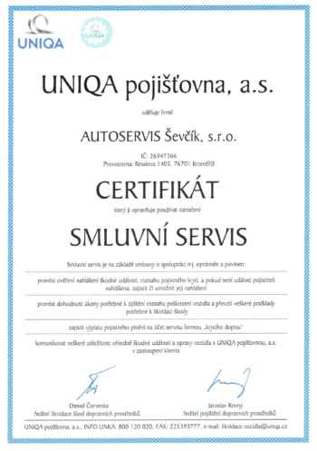 Certifikát Uniqa