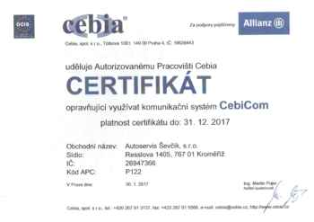 Certifikát Cebia